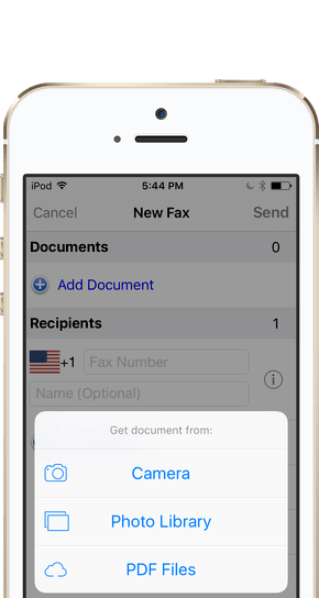 Fax your document from different sources